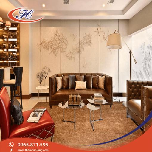 Tông màu và chất liệu đem lại vẻ sang trọng cho căn phòng